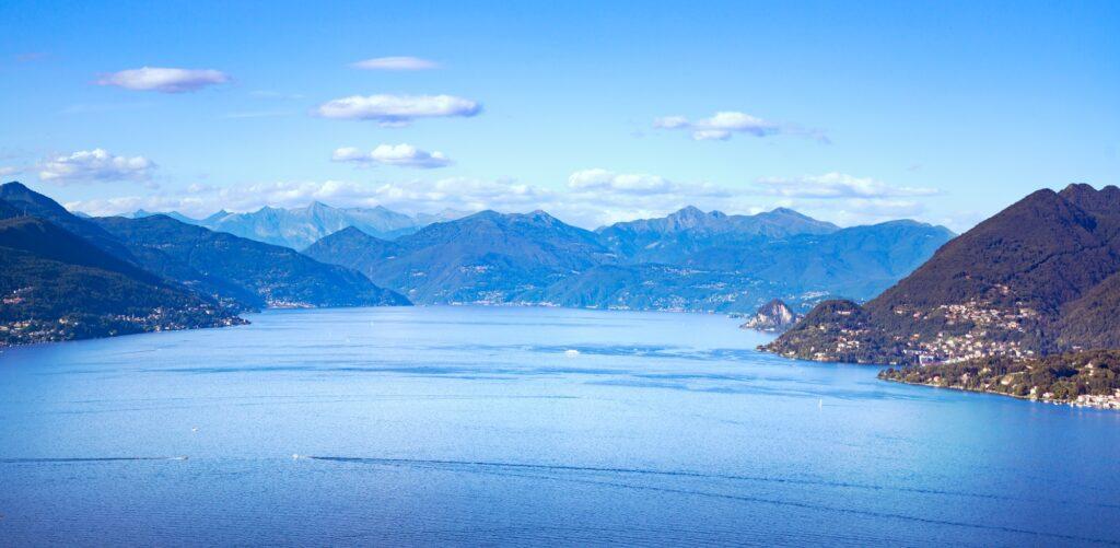 Maggiore lake panoramic view from Mottarone Stresa. Piedmont Ita